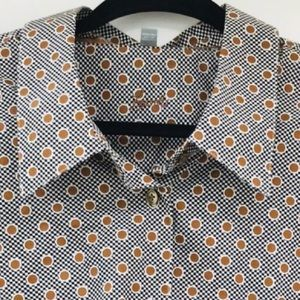 💗Foxcroft cotton geometric print l/s blouse sz24W